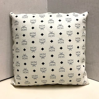 MCM Leather Throw Pillow