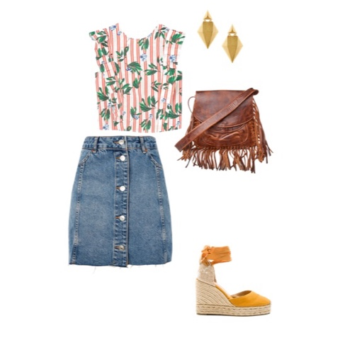 Summer outfits mom stay at home mom fashion mother purse denim skirt wedge shoe lunch with friends top om mommy blogger
