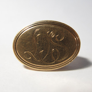 14K Gold LS Monogram Clip Brooch