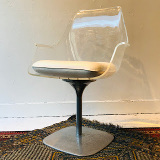 Lucite Pedestal Champagne Style Chair