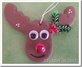 Fimo reindeer parcel charm, tree decoration Christmas fimo