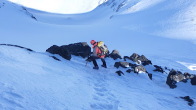 Photo: Descending with crampons and an ice axe