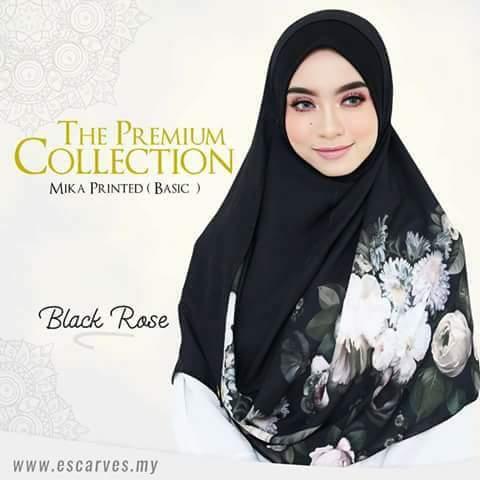 shawl labuh mika printed Black Rose Escraves