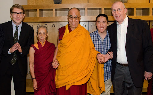 His Holiness the Dalai Lama with FPMT International Office office manager Carl Jensen, Ven. Zia Bassam, Michael Kedge and FPMT board member Peter Kedge, Maitripa College, Portland, Oregon, U.S., May 10, 2013. Photo by Marc Sakamoto.