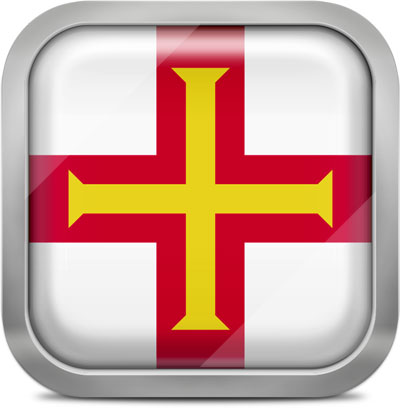 Guernsey square flag with metallic frame