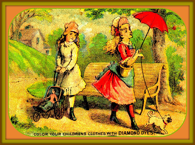 girl on left with white dress and doll carriage gazes after girl on right wearing red dress with blue sash under red parasol while walking small light tan dog