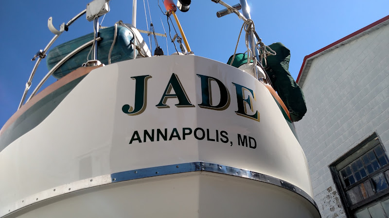 JADE custom vinyl boat lettering