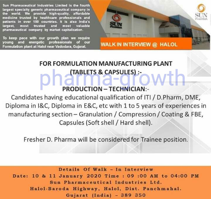 Sun Pharma - Walk in interview for Fresher & Experienced on 10th & 11th Jan 2020