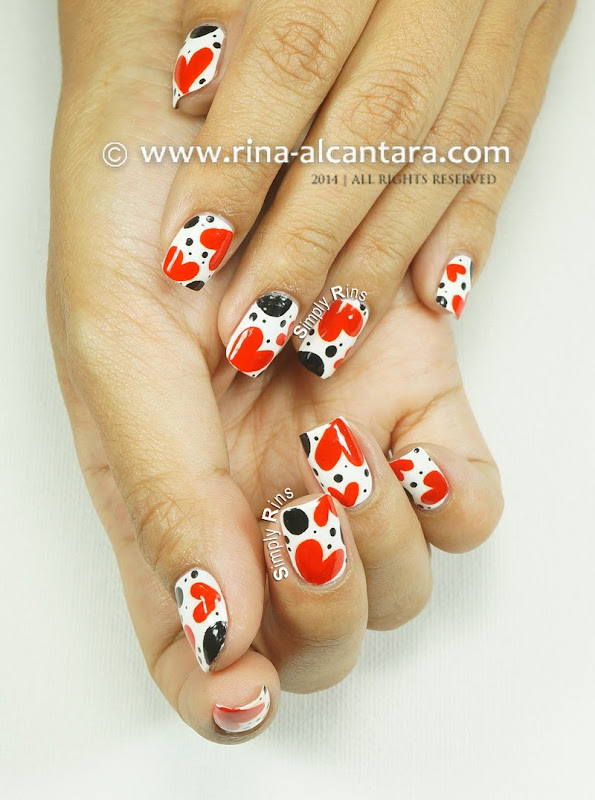 Polka Hearts Nails by Simply Rins