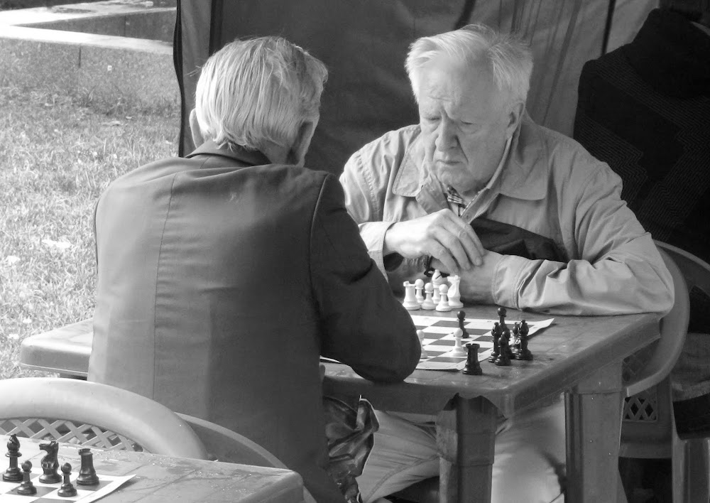 lots of chess stands set up near the Metro on this day of festivities