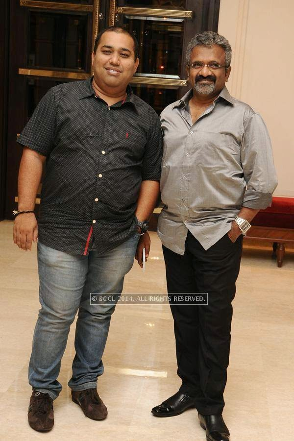 C.V Kumar and Siva during the birthday celebration, held at The Leela Palace, in Chennai.