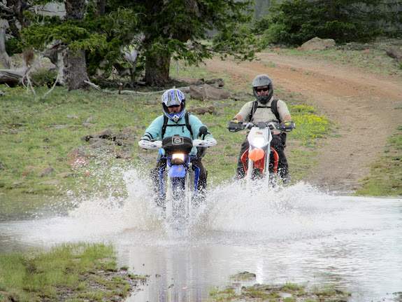 Alan and Paul riding through Bakeskillet Lake
