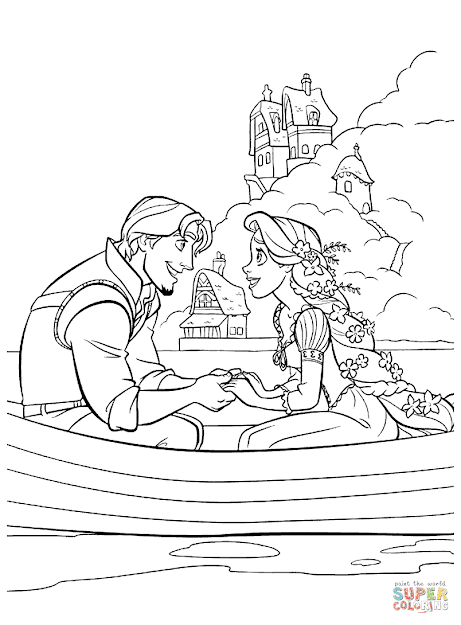 Free Rapunzel Coloring Pages  Flynn Rider And Rapunzel