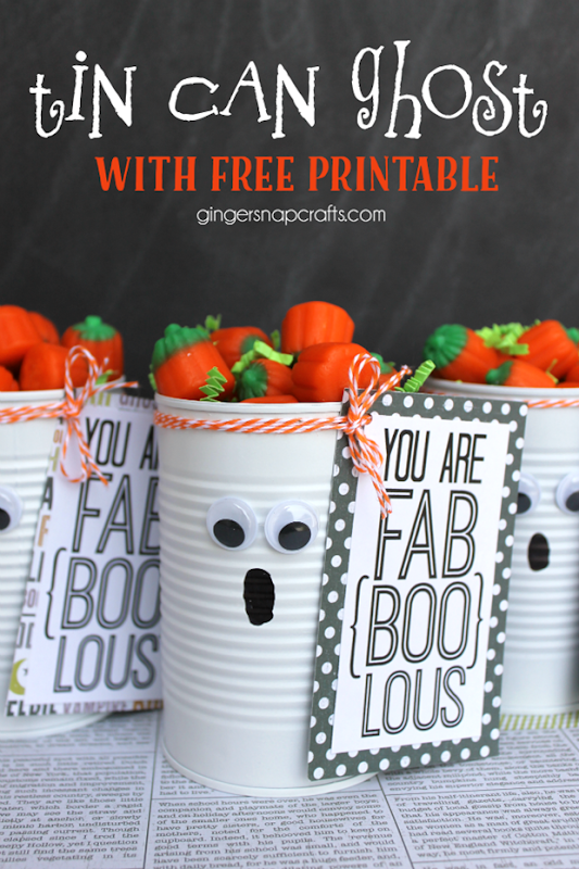 Tin Can Ghost with Free Printable #gingersnapcrafts #halloween
