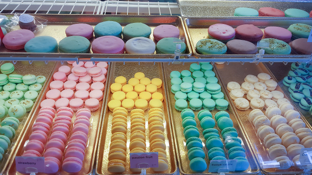 photo of the macaron display case