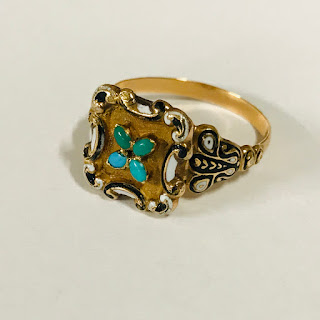14K Gold, Turquoise and Enamel Poison Ring