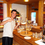 Andrew having breakfast at Hotel Hirschen in Grindelwald, Bern, Switzerland