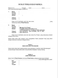 Contoh Surat perjanjian kesepakatan kerja