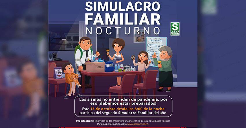 SIMULACRO FAMILIAR MULTIPELIGRO: Desde las 20.00 horas de hoy miércoles 13, será simulacro nacional sin salir de casa