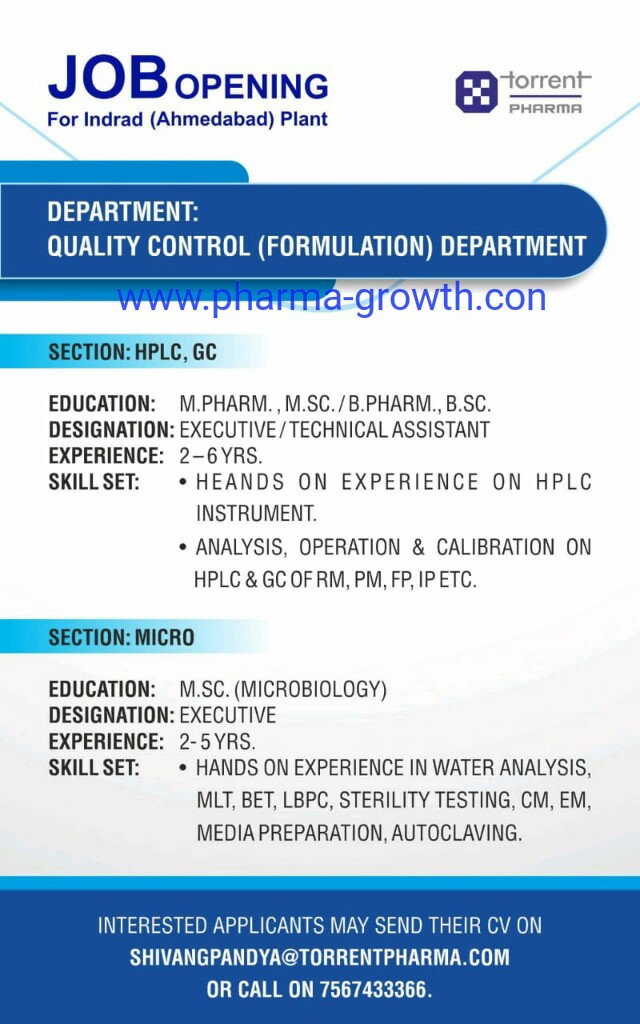 Torrent Pharma - Job Opening for Quality Control | Apply CV Now
