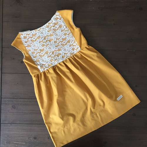 Handcrafted Classic Cap Sleeve dress in Maize yellow with lace by Daydream Believers Designs Boho Fashion