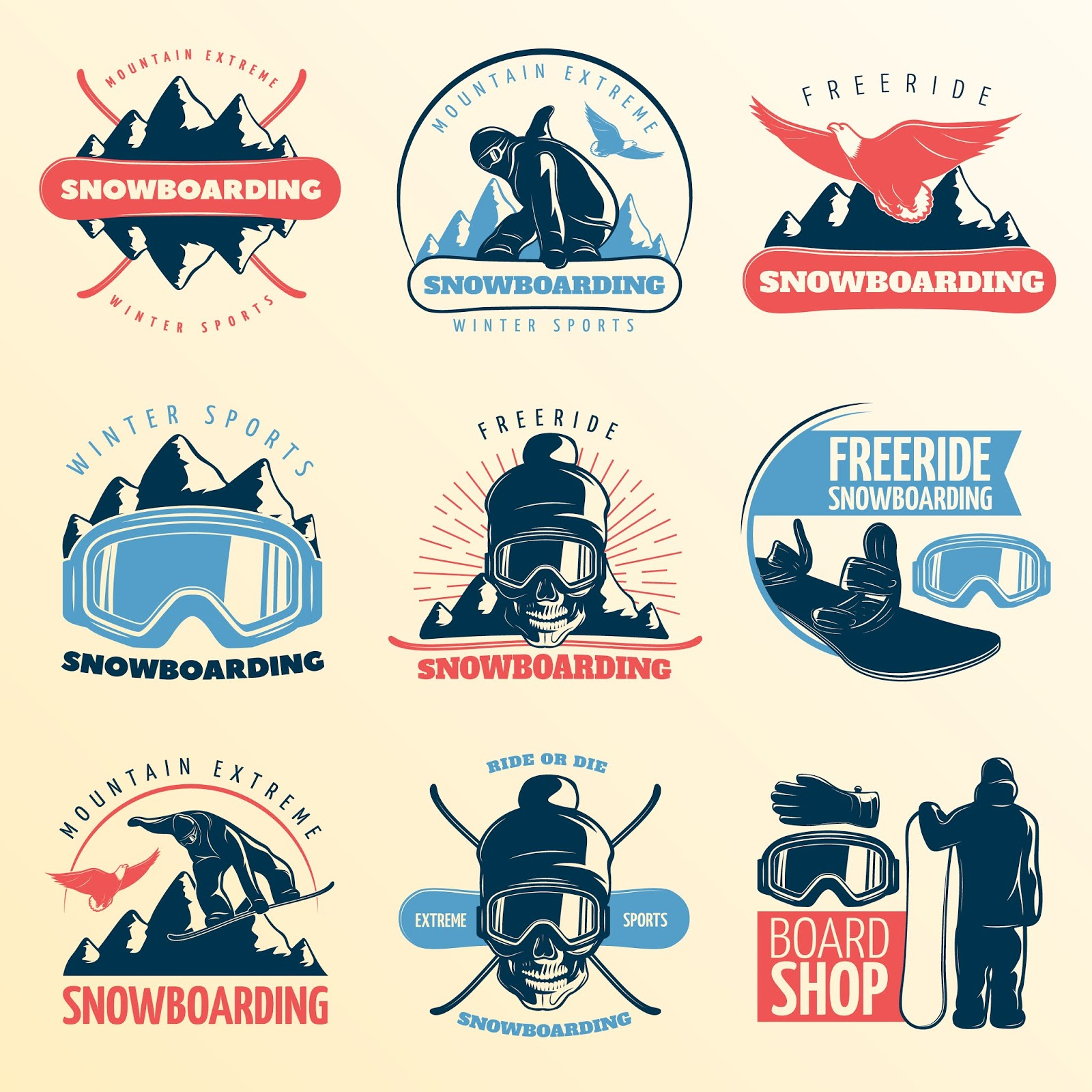 Snowboarding Emblem Set Color With Mountain Extreme Winter Sports Freeride Board Shop Descriptions Vector Illustration Free Download Vector CDR, AI, EPS and PNG Formats