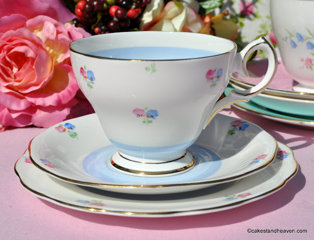 Bell China 1940s Blue and Pink Teacup Trio