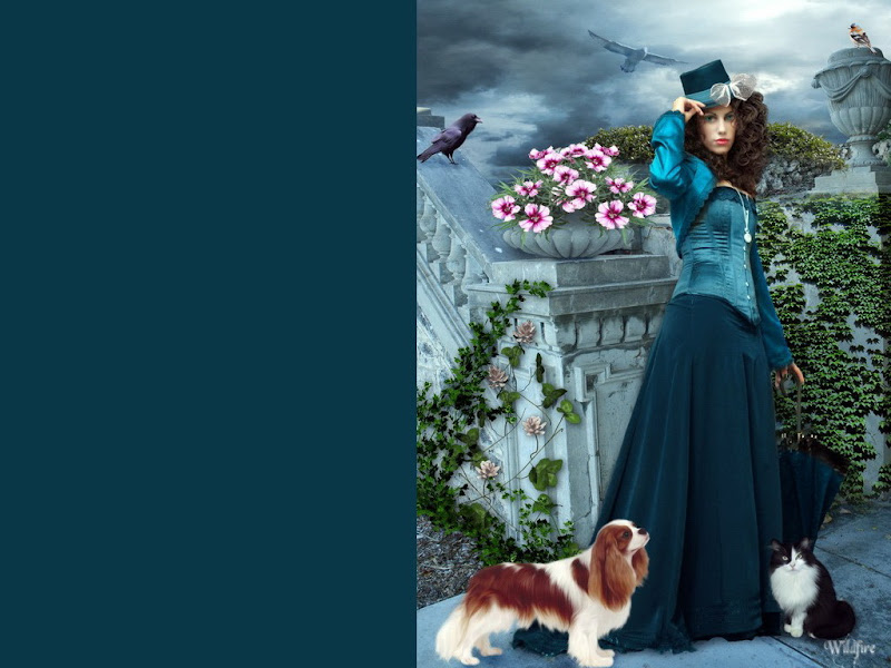 Fantasy Girl With Cat And Dog, Magic Beauties 2