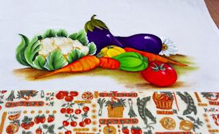 pintura couve flor, beringelas,pimentões e cenouras