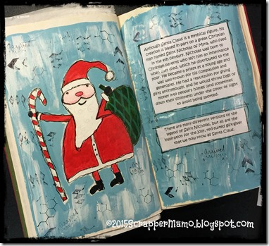 Whimsical Santa in altered book