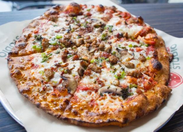 ... mozzarella, mushroom, broccolini, spicy pork sausage, chipotle powder