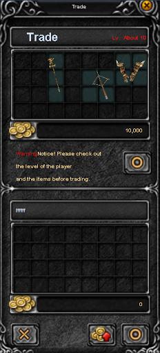 Окно торговли (trade) между двумя игроками в MU Online