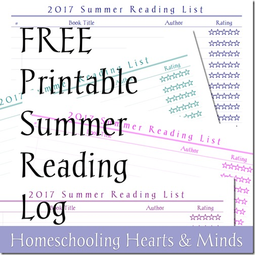 graphic relating to Free Printable Reading Logs identify Homeschooling Hearts Minds: No cost Summer time Looking at Log