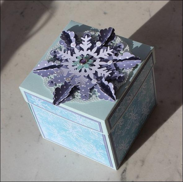 Explosion Box Stampin Up Weihnachten Winterwald Rehe Schnee Schneeflocke 00