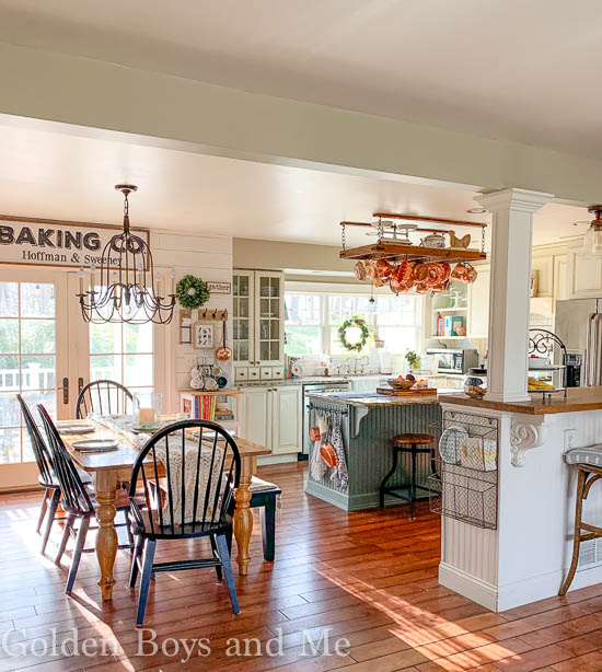 Farmhouse style kitchen in open floor plan home - www.goldenboysandme.com