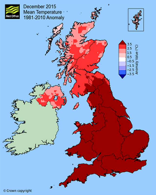 December 2015 mean temperature anomaly for the United Kingdom. December was the warmest on record with temperatures closer to those normally experienced in April or May. Graphic: Met Office
