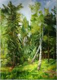 brzozy w Międzyzdrojskim lesie, olej, płótno, szpachla, 50/70 cm