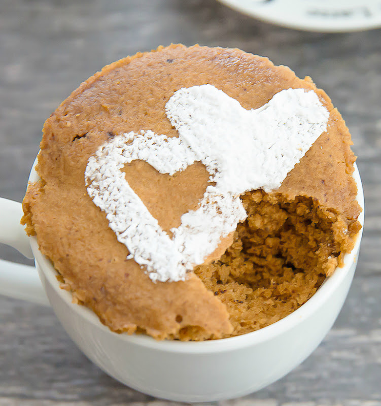 close-up overhead photo of Caffè Latte Mug Cake