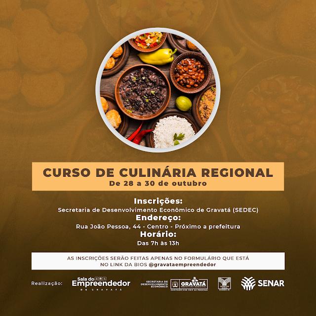 Gravatá: Prefeitura oferece Curso de Culinária grátis.