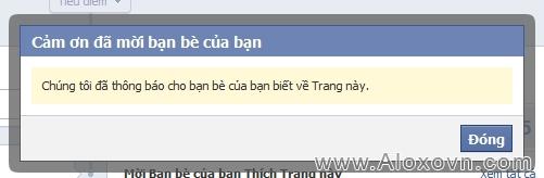 Kết thúc quá trình mời bạn bè like fanpage facebook