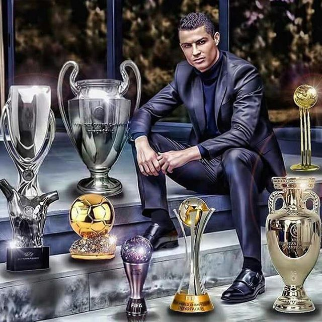 Cristiano Ronaldo Poses With All The Awards Trophies He Received In 2016