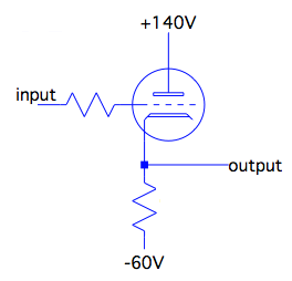 A cathode follower buffer built from a vacuum tube triode.