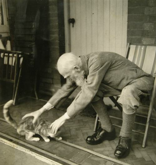 George Bernard Shaw and a cat