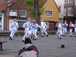 Morris dancers in the square, May evening 2013