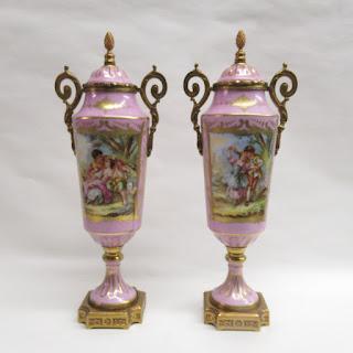 Birks Porcelain Lidded Urn Pair