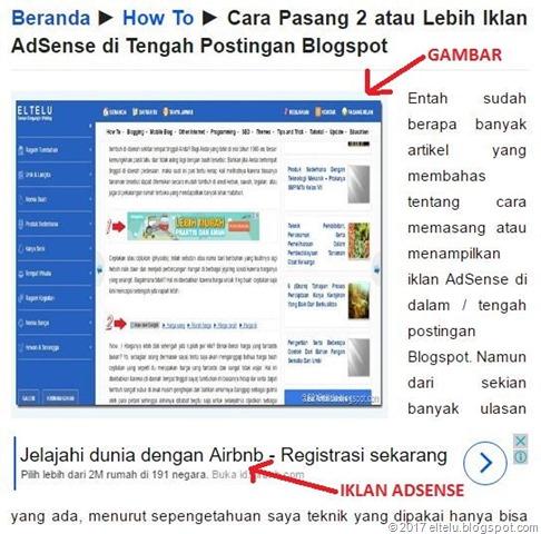 Ilustrasi Iklan AdSense yang Dipasang di Bawah Gambar Suatu Postingan Artikel