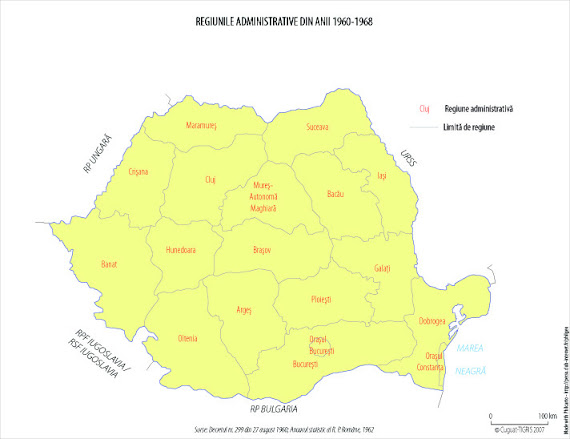 Harta administrativ-teritorială a României între 1960 - 1968. Numărul regiunilor este redus la 16