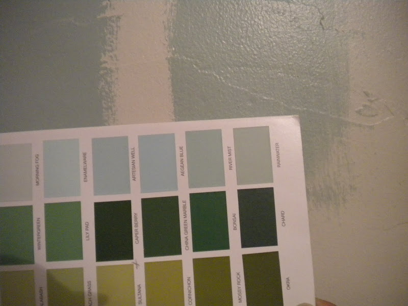 bathroom color so far? Too dark for such a small space? Or do you like title=