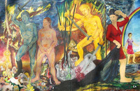 Unveiling-Duology, oil on canvas, 90,5x 59 inches, 1995
