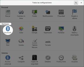 Configurar el hardware en GNOME. Bluetooth.
